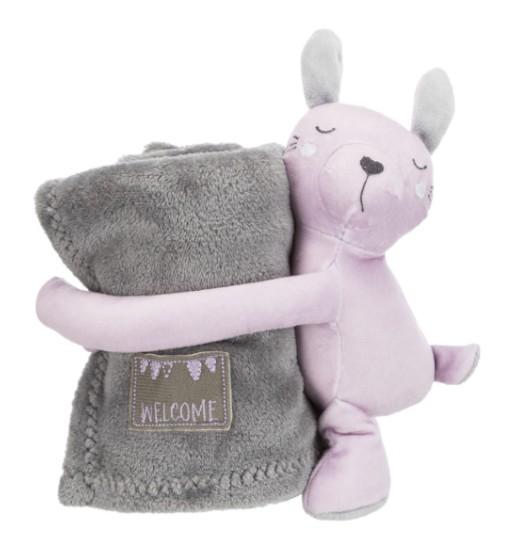 Trixie Zestaw JUNIOR - koc 75x50cm z maskotką (różowy królik)