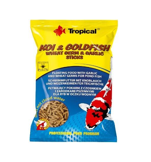 Koi&Goldfish Wheat Germ&Garlic Sticks worek 1000ml/90g