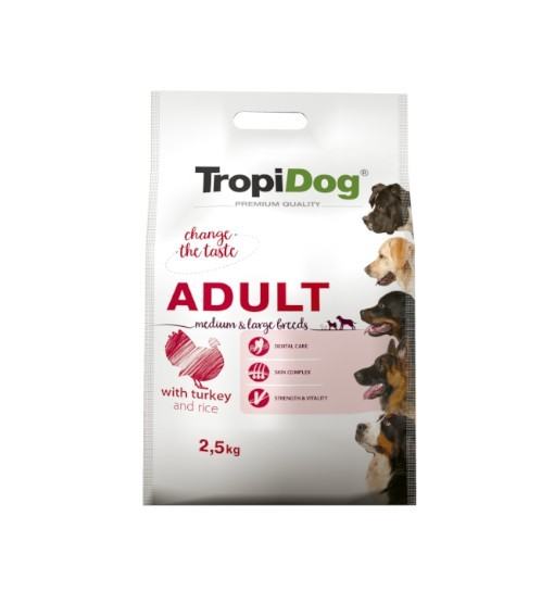 Tropidog Premium Adult Medium & Large Breeds With Turkey & Rice - Duża Rasa, Indyk i Ryż