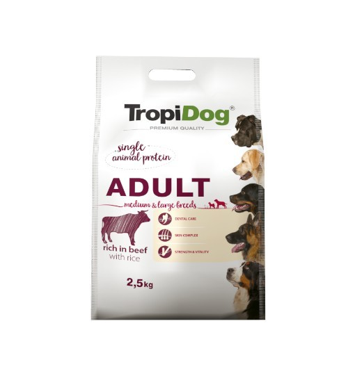Tropidog Premium Adult Medium & Large Breeds With Beef & Rice - Duża Rasa, Wołowina i Ryż