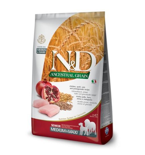 N&D Low Grain Chicken&Pomegranate Senior Medium&Maxi 12kg
