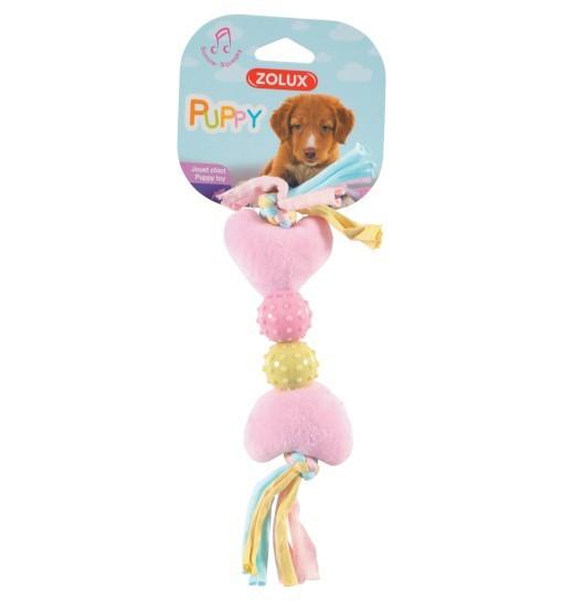Pluszowa zabawka dla szczeniąt XS - różowa kość