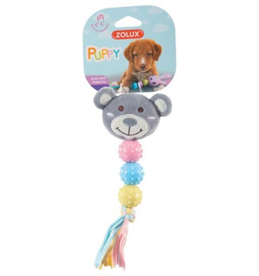 Pluszowa zabawka-grzechotka dla szczeniąt XS - szary miś