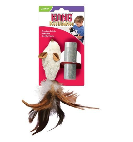 KONG Cat Refillables Feather Mouse - mysz z piórkami i kocimiętką