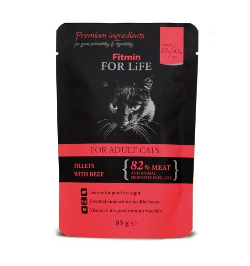 Fitmin For Life Cat Pouch Adult Beef 85g /saszetka