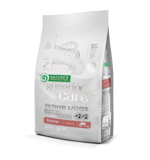 Nature's Protection White Dogs Grain Free Salmon Starter All Breeds