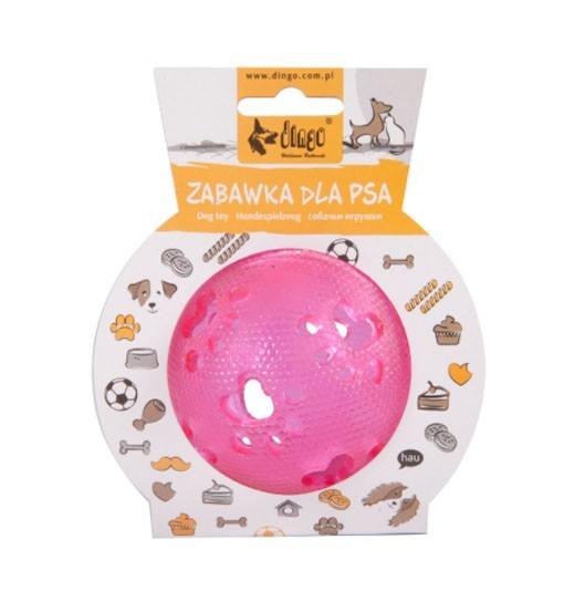 Dingo Zabawka dla psa piłka ażurowa w łapki, śr. 7 cm różowa