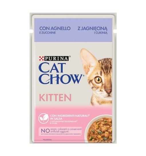 Saszetka Cat Chow Kitten - jagnięcina z cukinia w sosie 85 g