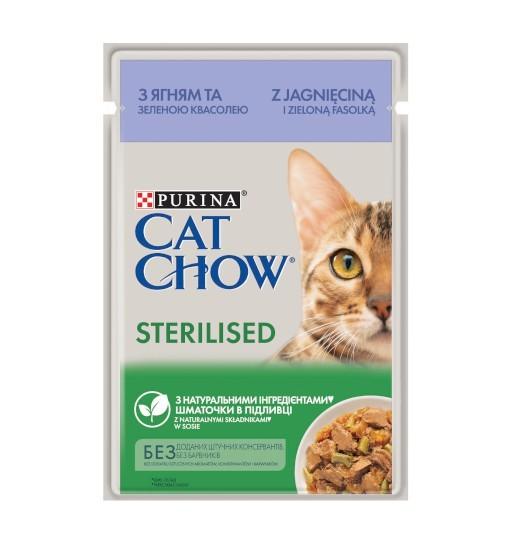 Saszetka Cat Chow Sterilised - jagnięcina z zieloną fasolką w sosie 85 g
