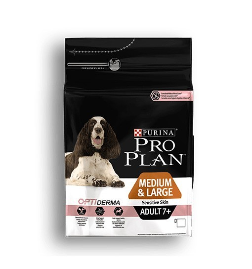 Purina Pro Plan Optiderma Adult Medium Large 7+ Sensitive Skin